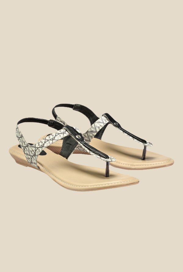 Nell Grey & Black Sling Back Sandals