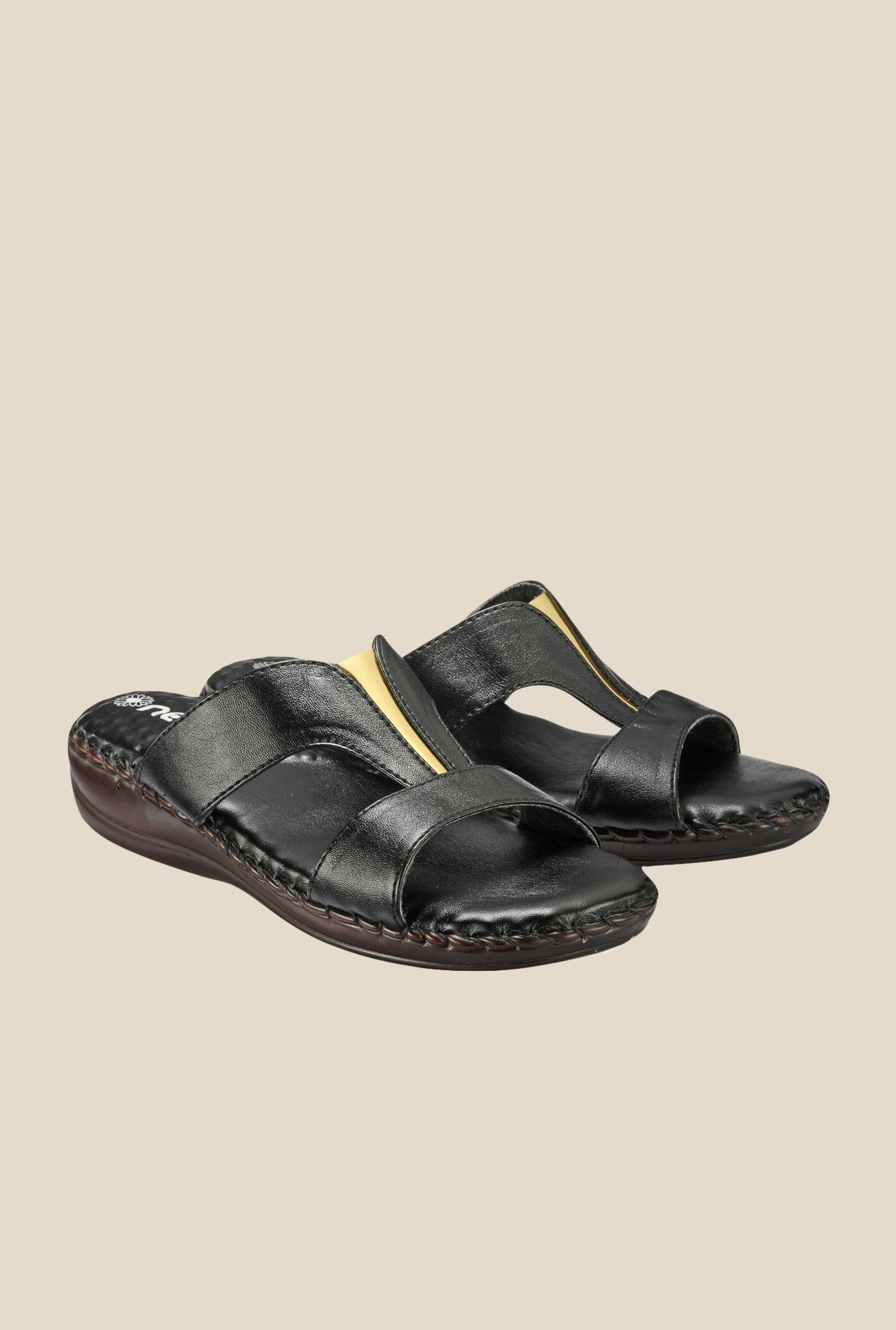 Nell Black Slide Sandals