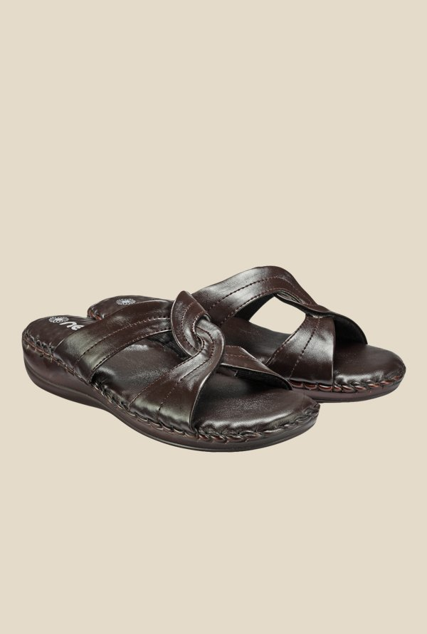 Nell Brown Flat Sandals