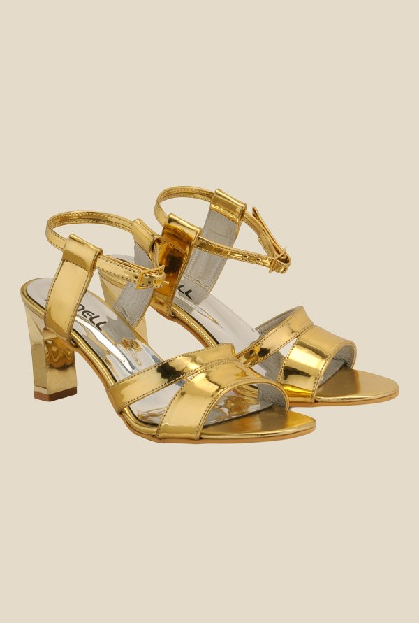 Nell Golden Ankle Strap Sandals
