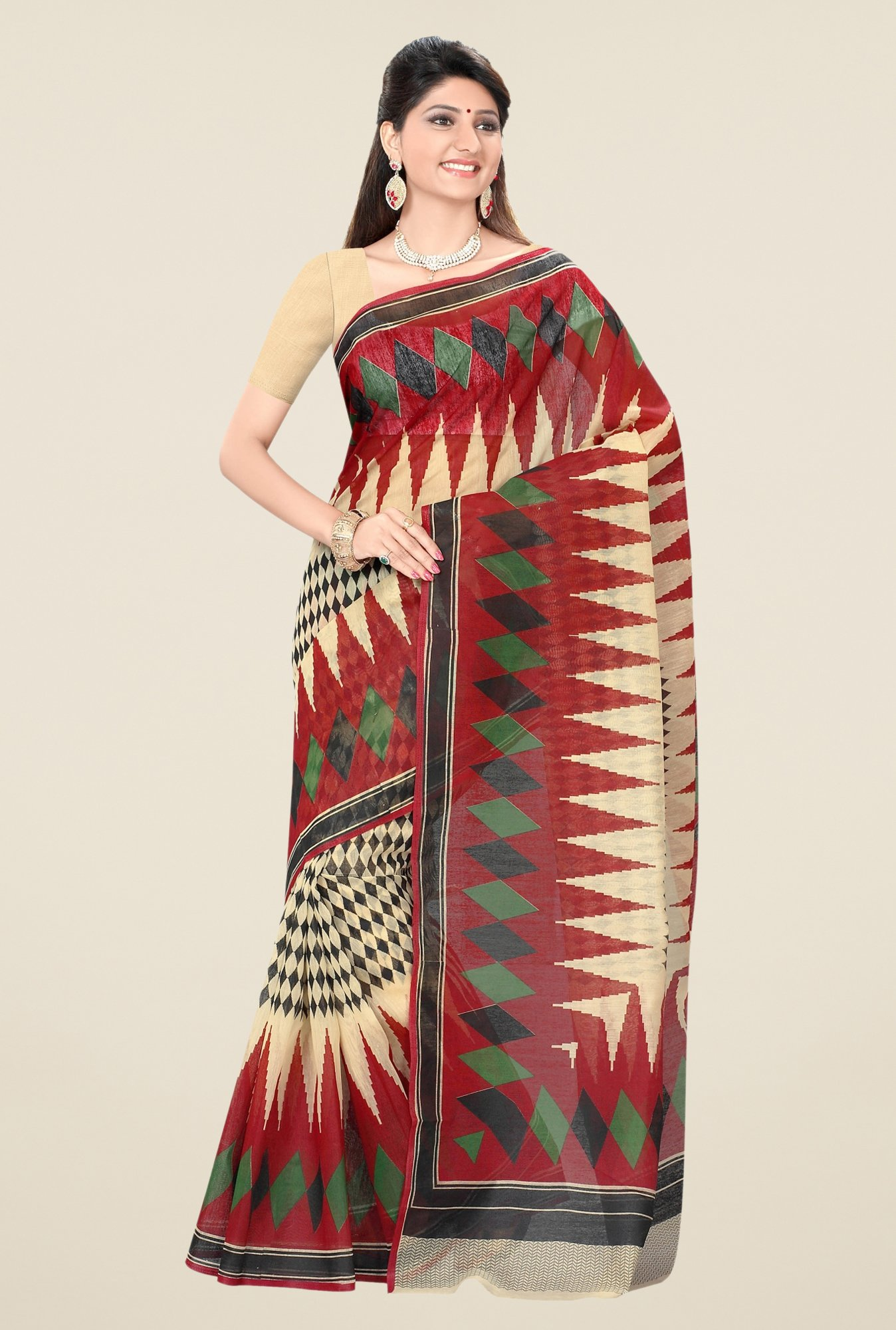 Triveni Beige & Red Printed Blended Cotton Saree