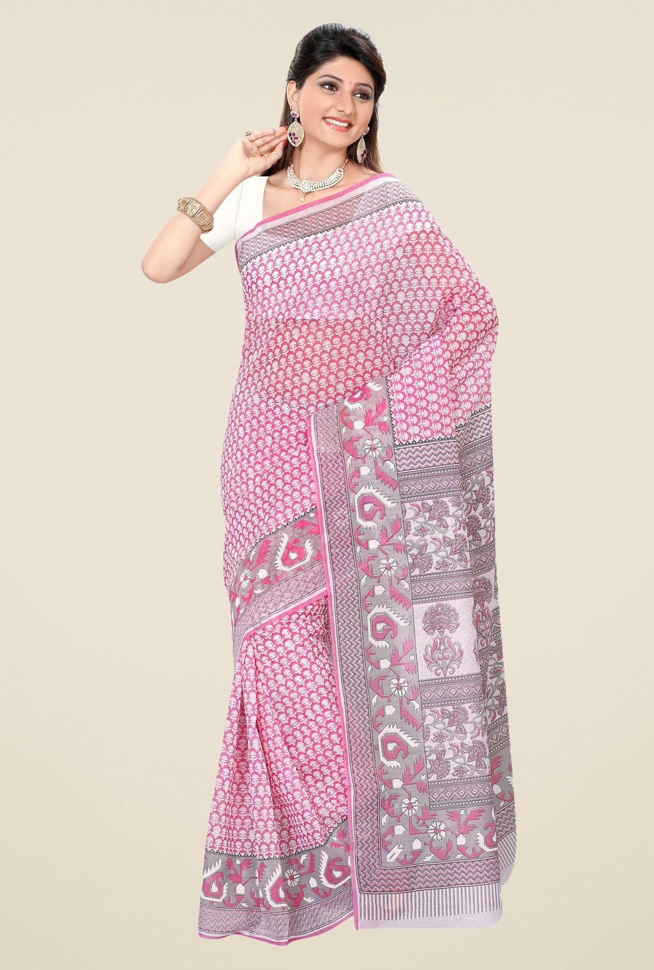 Triveni Pink Printed Blended Cotton Saree