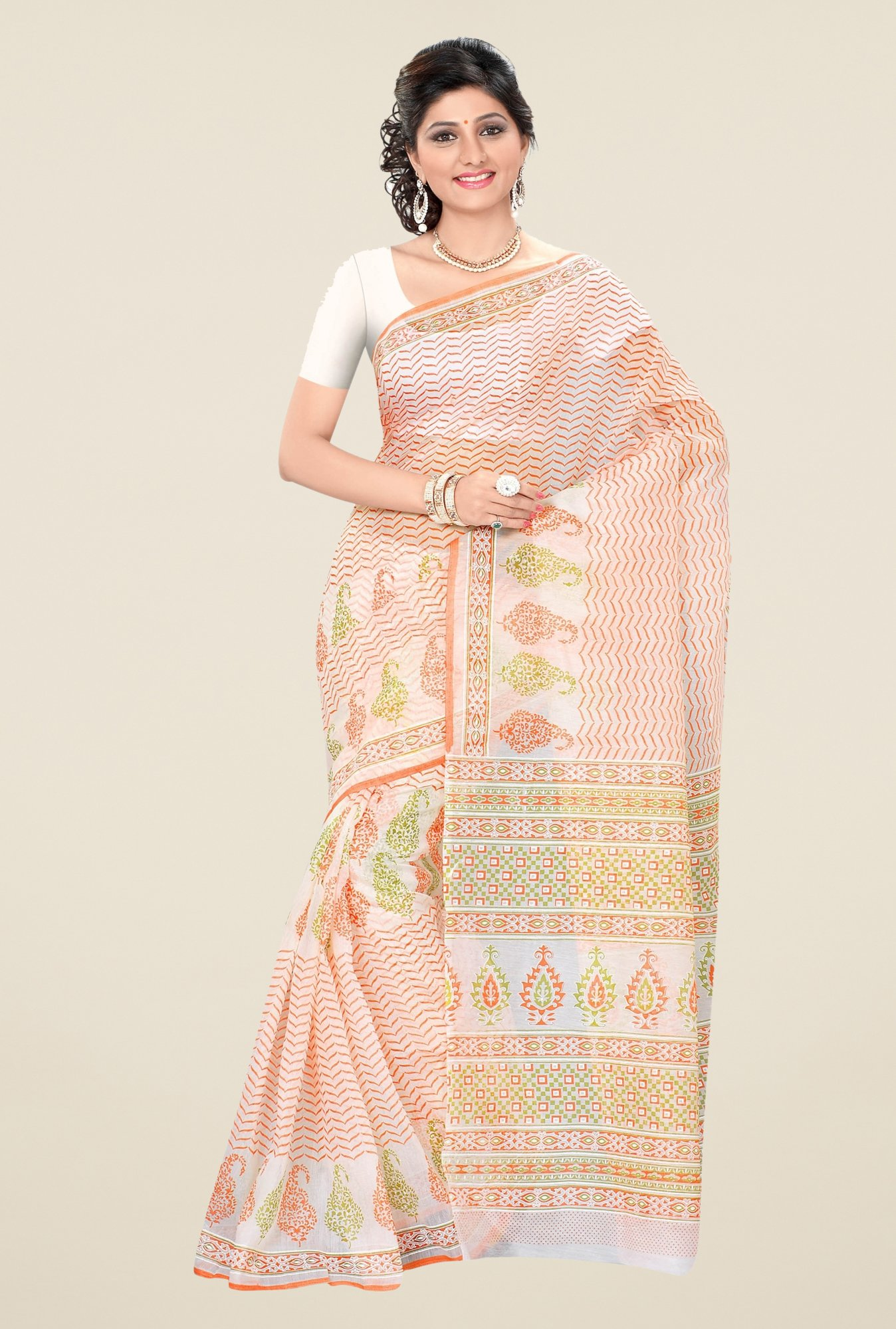 Triveni Off-White & Orange Printed Blended Cotton Saree