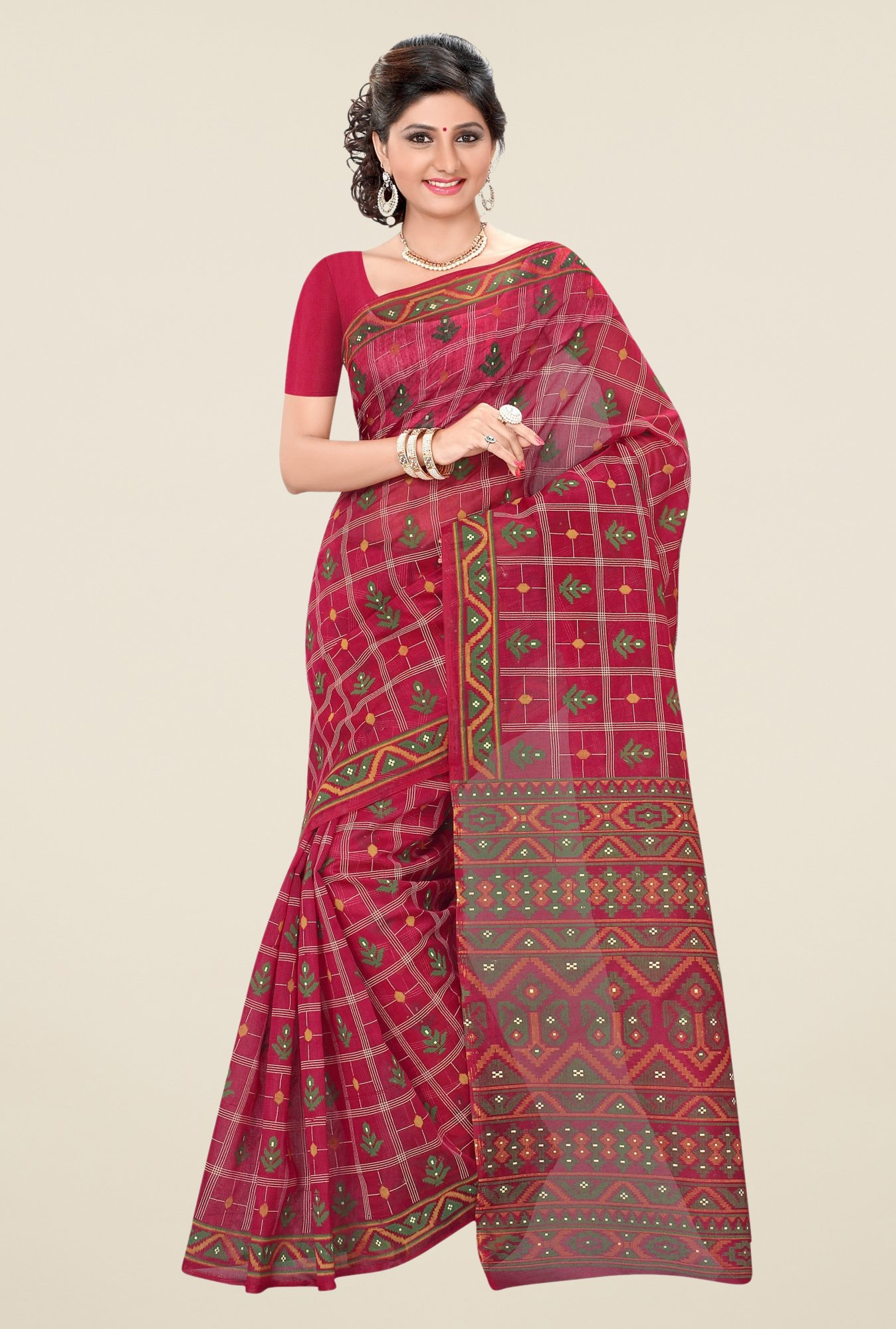Triveni Maroon Printed Blended Cotton Saree