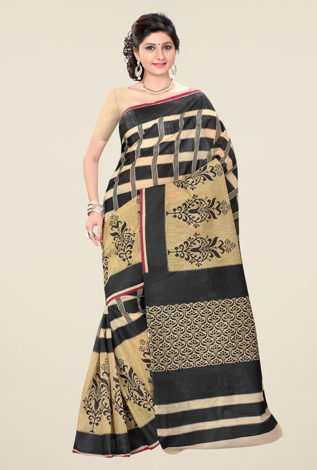 Triveni Beige & Black Printed Blended Cotton Saree