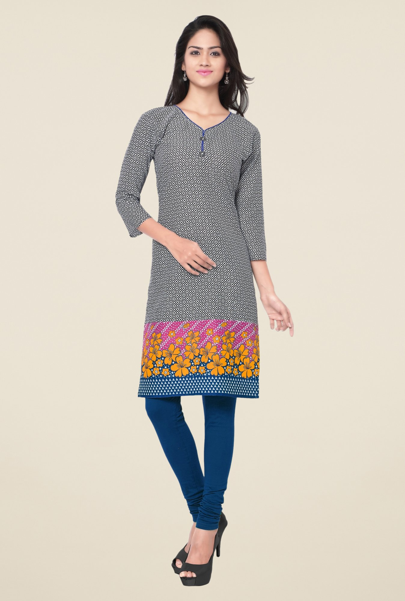 Triveni Black Printed Blended Cotton Kurta