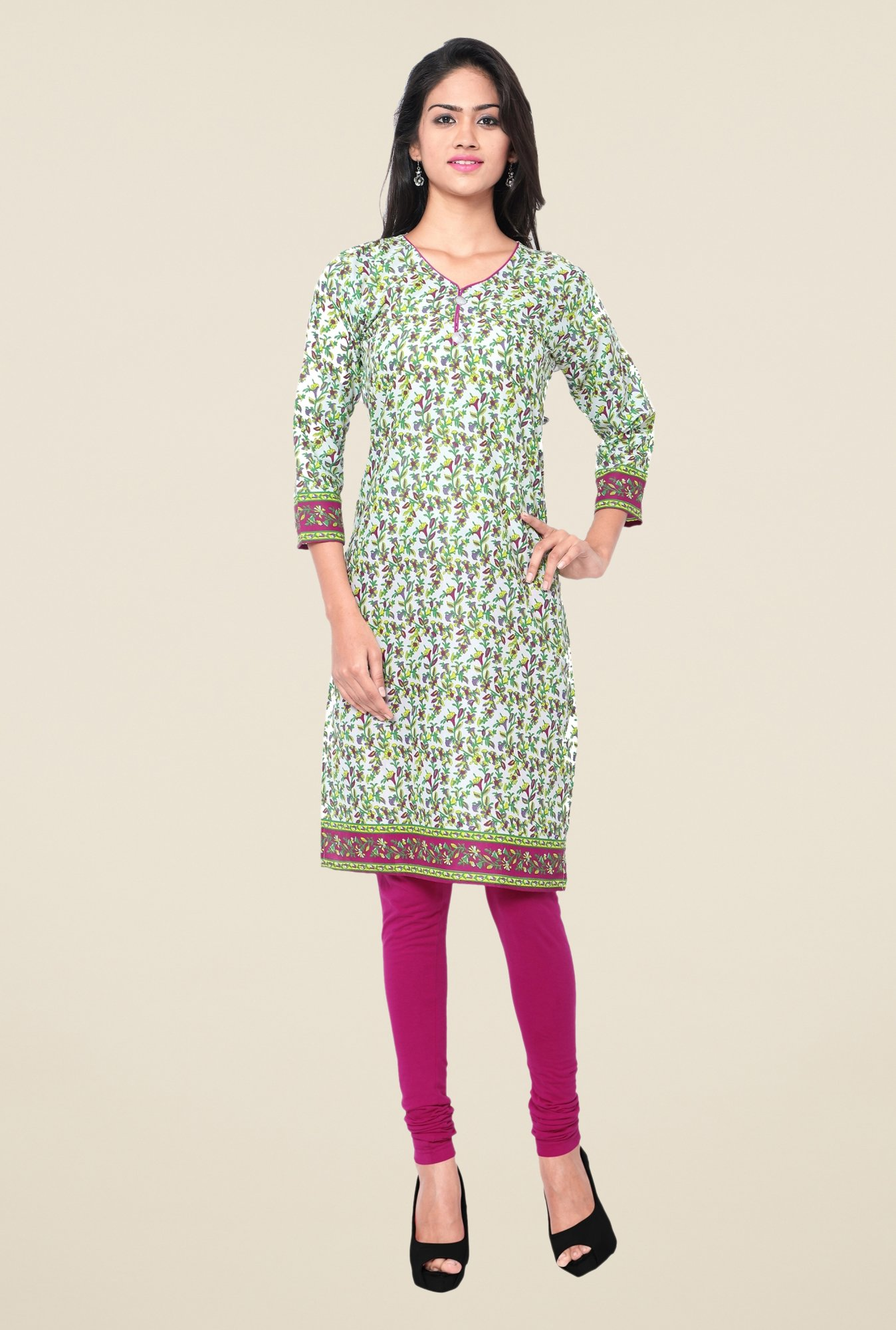Triveni Multicolor Printed Blended Cotton Kurta
