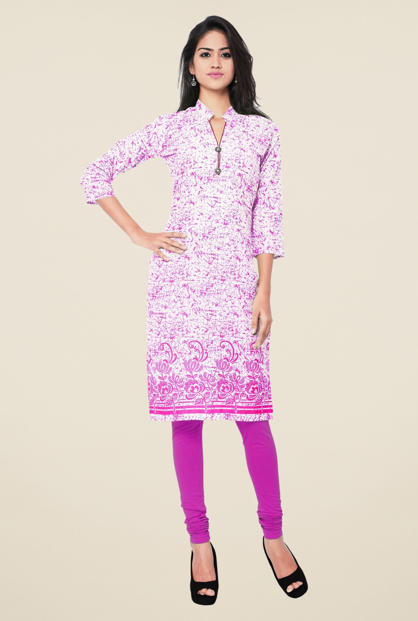 Triveni Pink Printed Blended Cotton Kurta