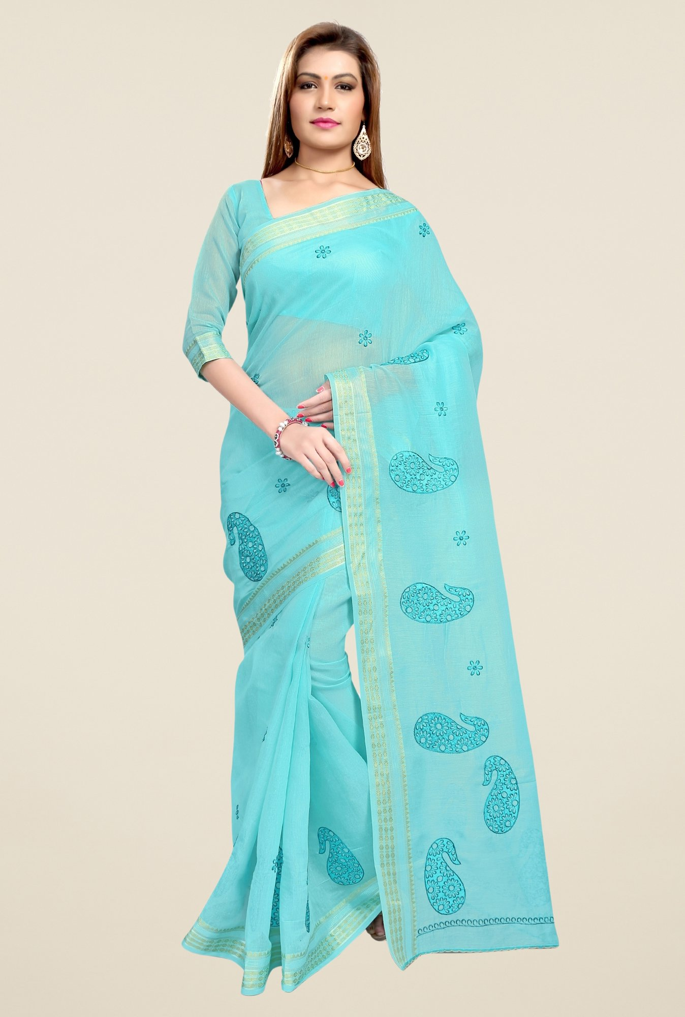Triveni Sky Blue Paisley Print Blended Cotton Saree