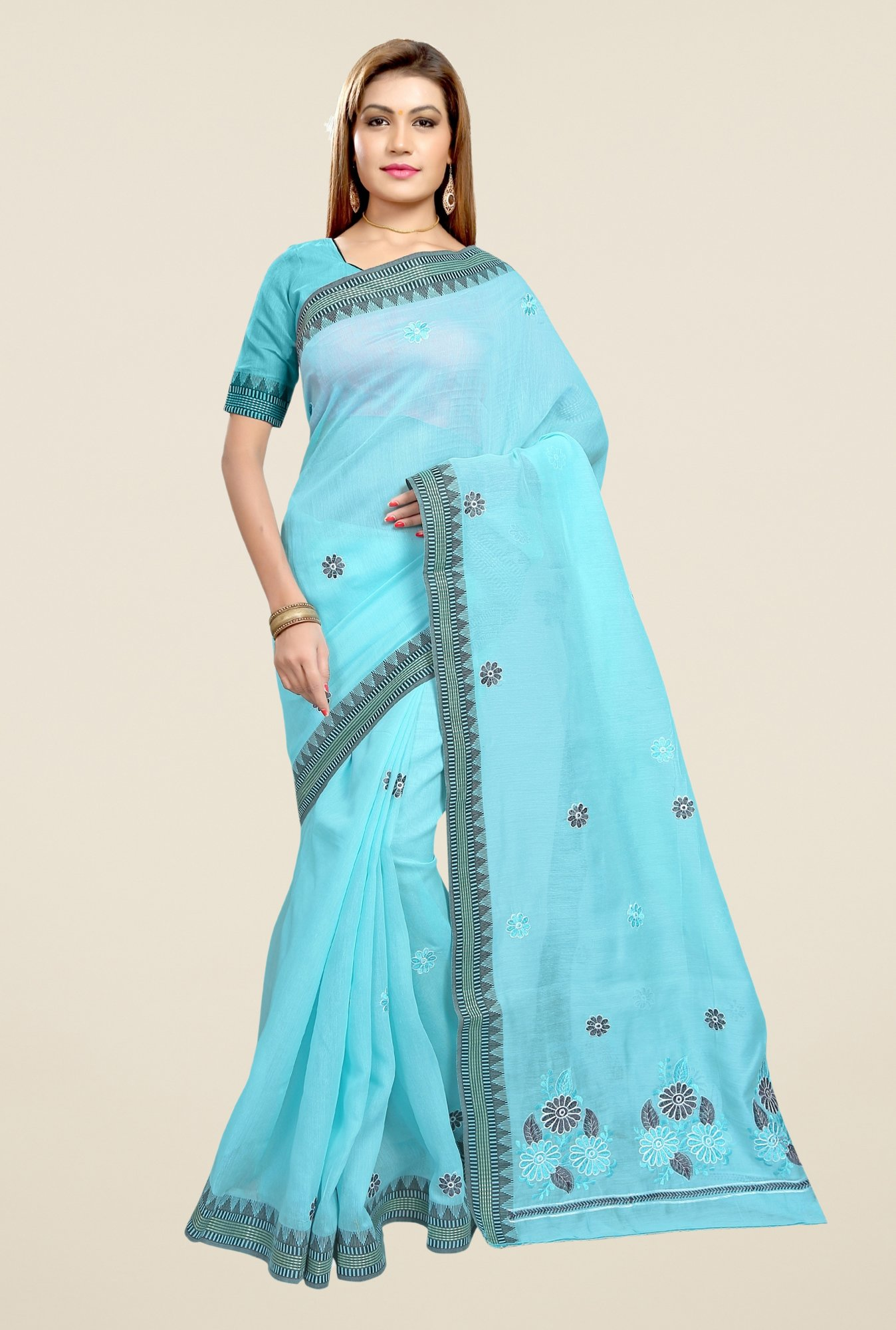 Triveni Sky Blue Embroidered Blended Cotton Saree
