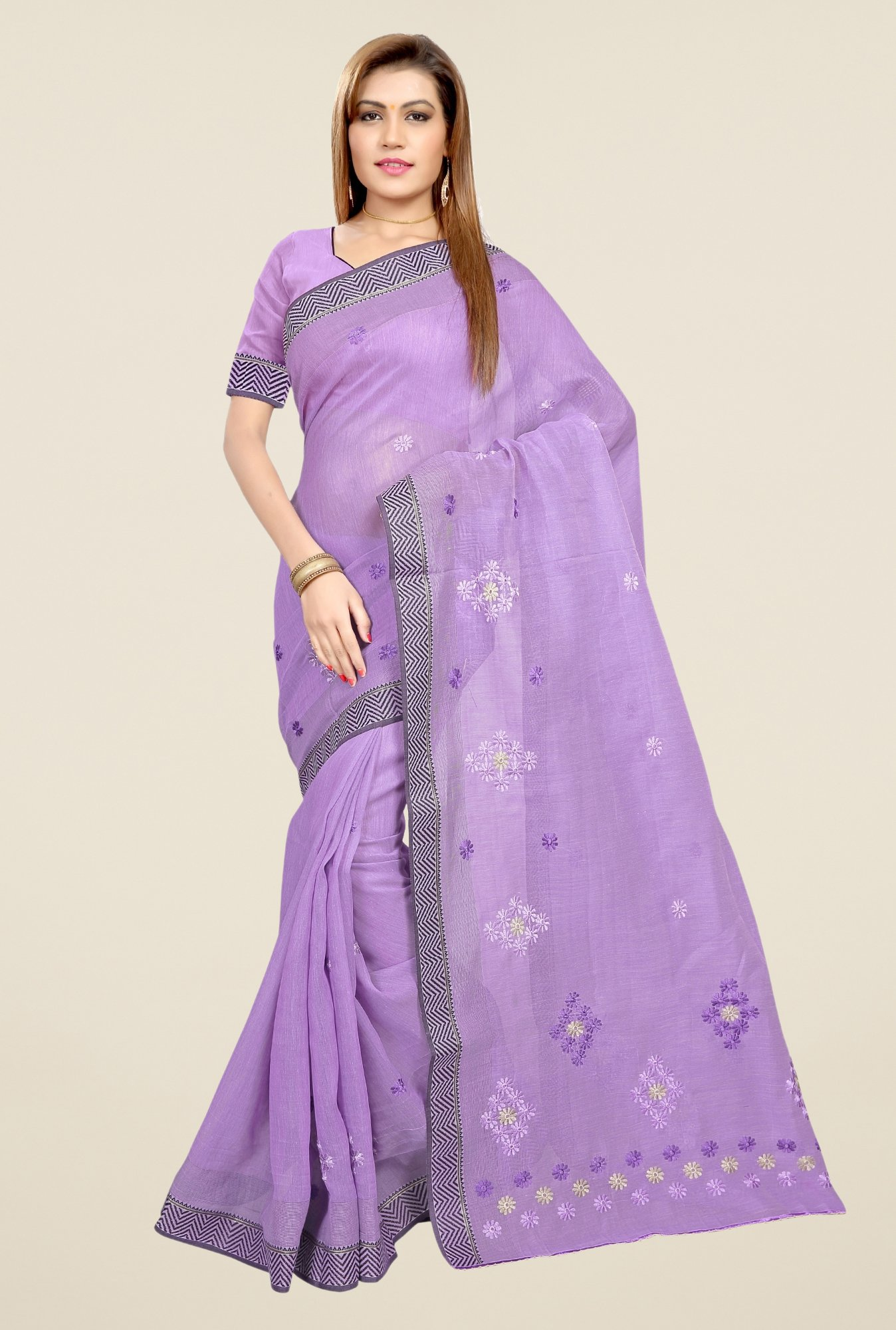 Triveni Purple Embroidered Blended Cotton Saree