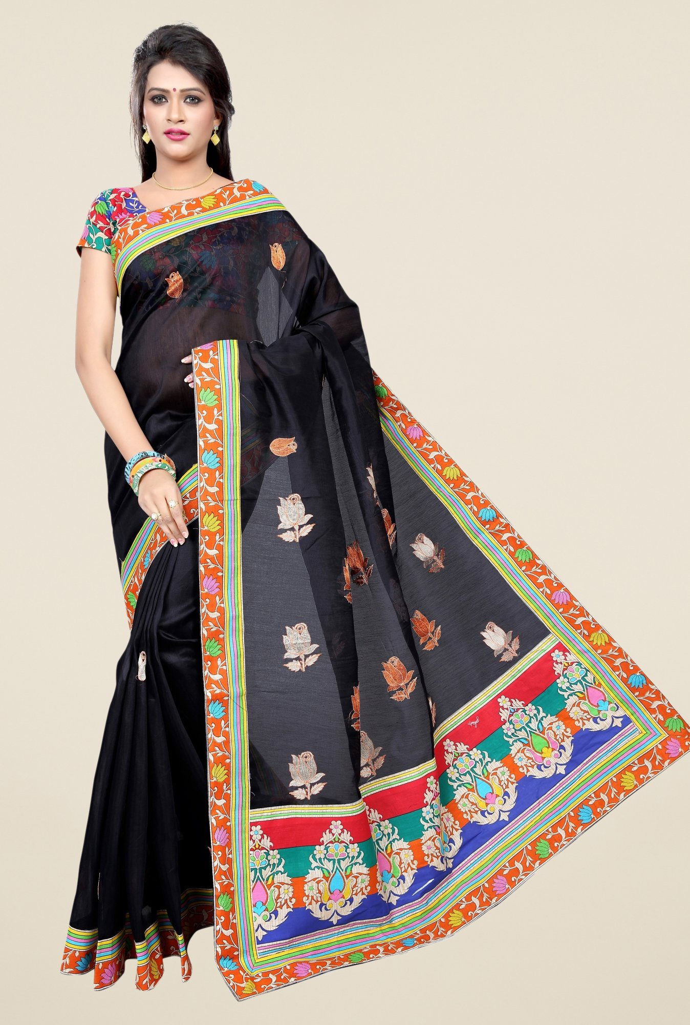 Triveni Black Embroidered Blended Cotton Saree