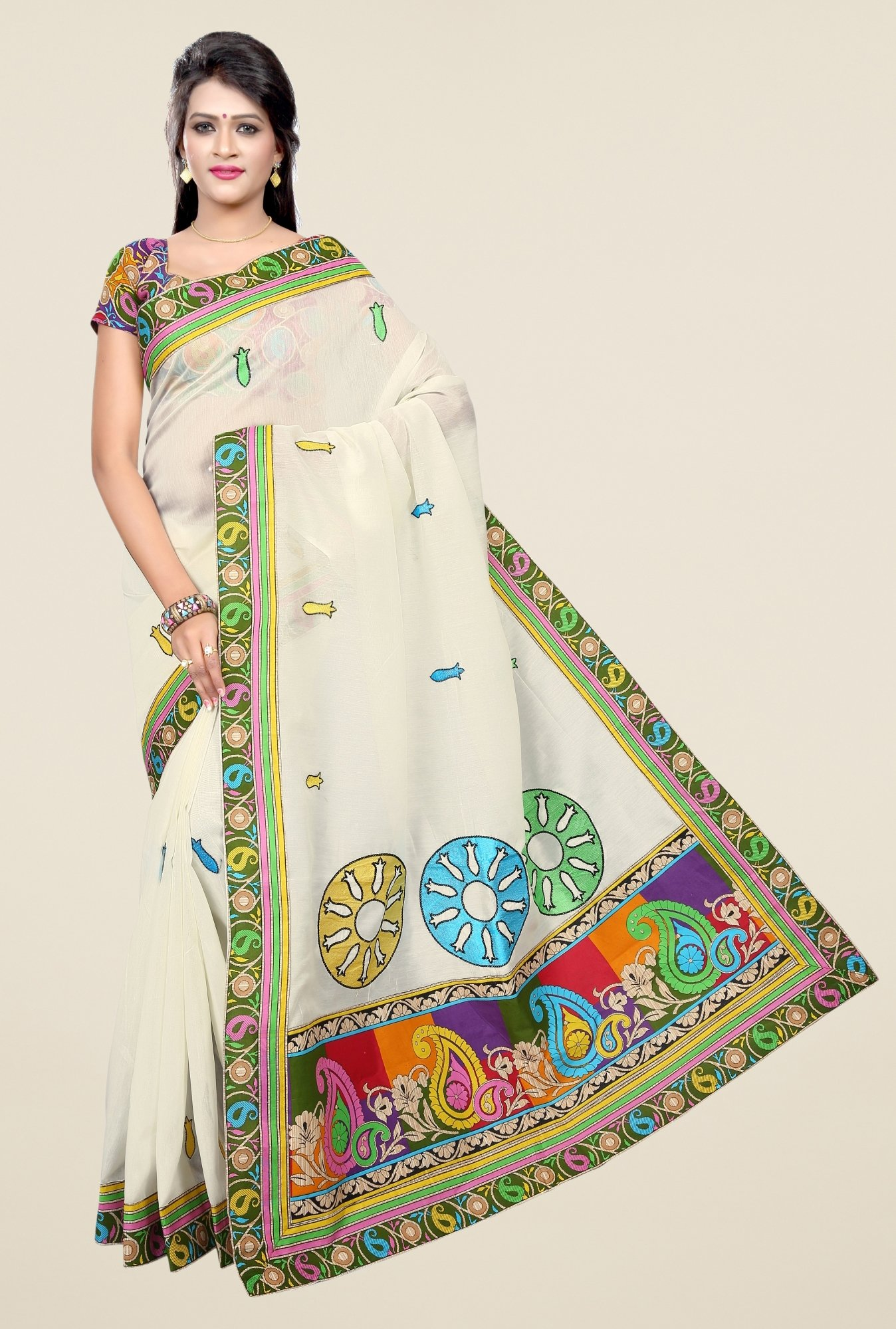 Triveni Cream Printed Blended Cotton Saree