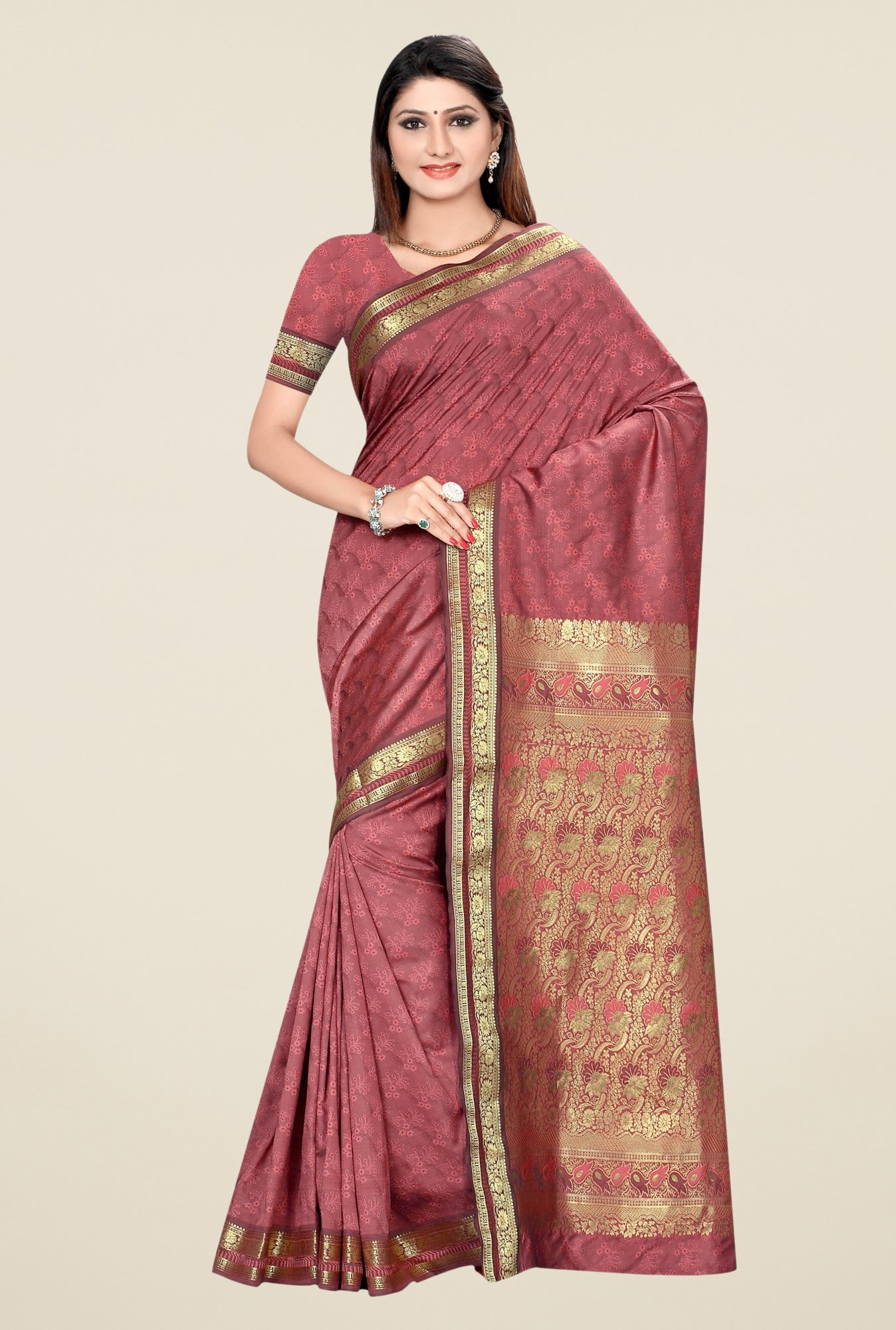 Triveni Rosewood Printed Art Silk Saree