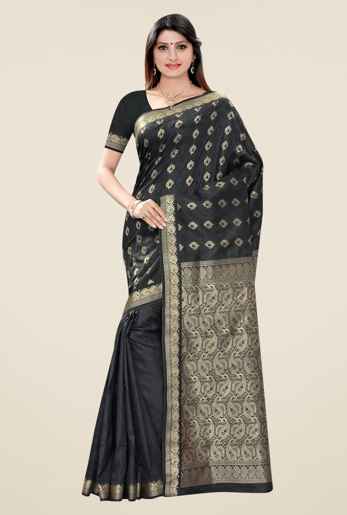 Triveni Black Printed Art Silk Saree