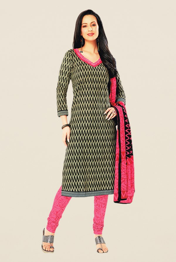 Salwar Studio Black & Pink Floral Print Dress Material