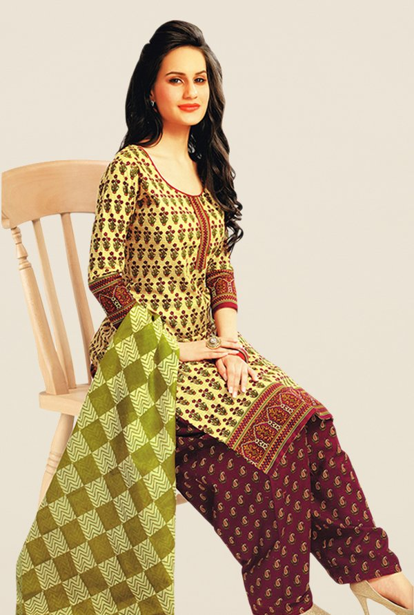Salwar Studio Yellow & Maroon Floral Print Dress Material
