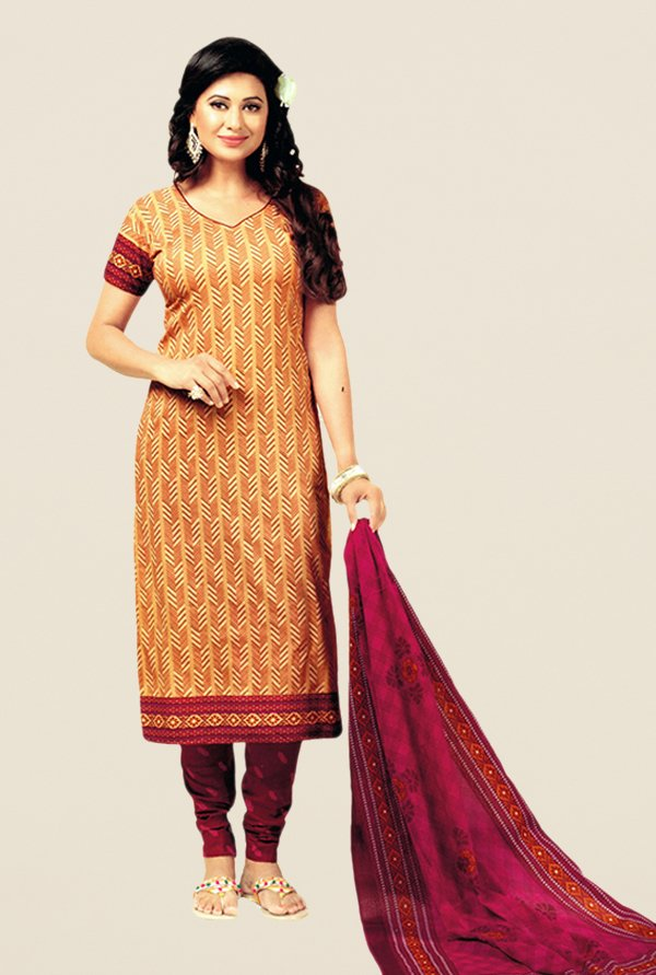 Salwar Studio Beige & Magenta Printed Cotton Dress Material