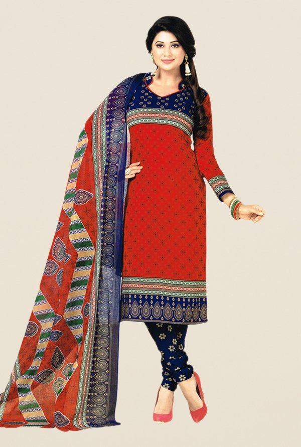Salwar Studio Red & Blue Floral Print Dress Material