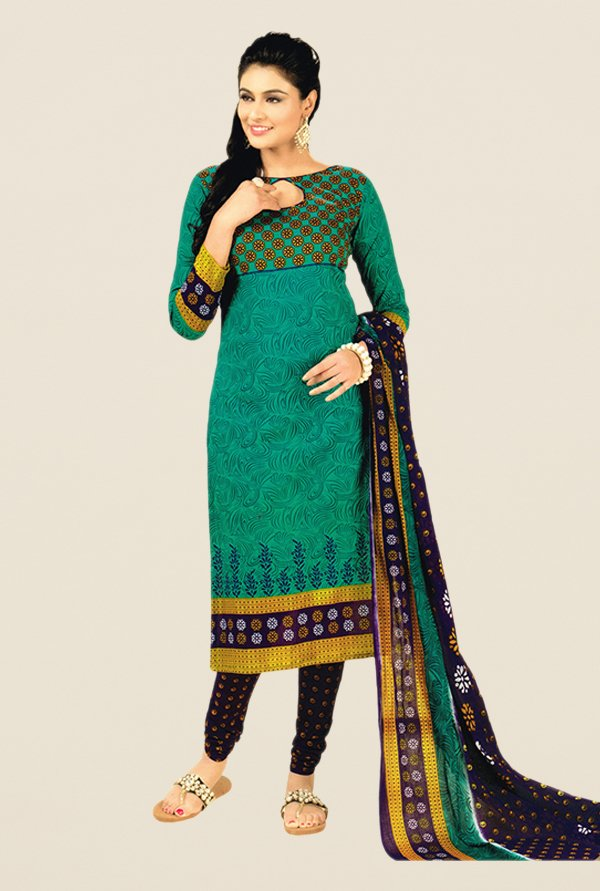 Salwar Studio Green & Navy Floral Print Dress Material