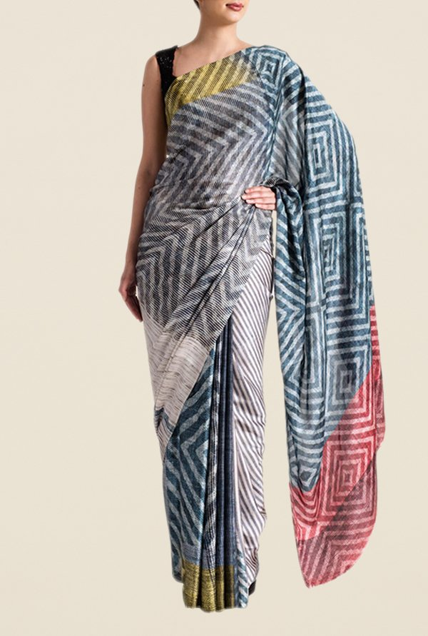 Satya Paul Blue & Grey Crepe Saree