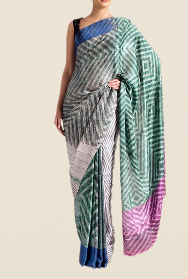 Satya Paul Green & Grey Super Georgette Satin Saree