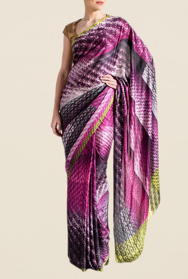 Satya Paul Pink & Purple Super Georgette Satin Saree