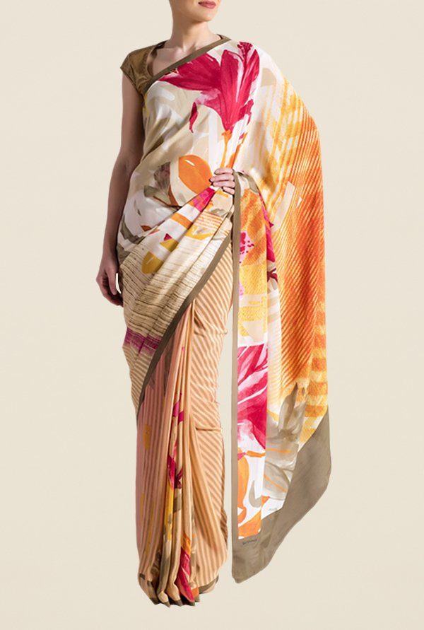 Satya Paul Brown Super Georgette Saree