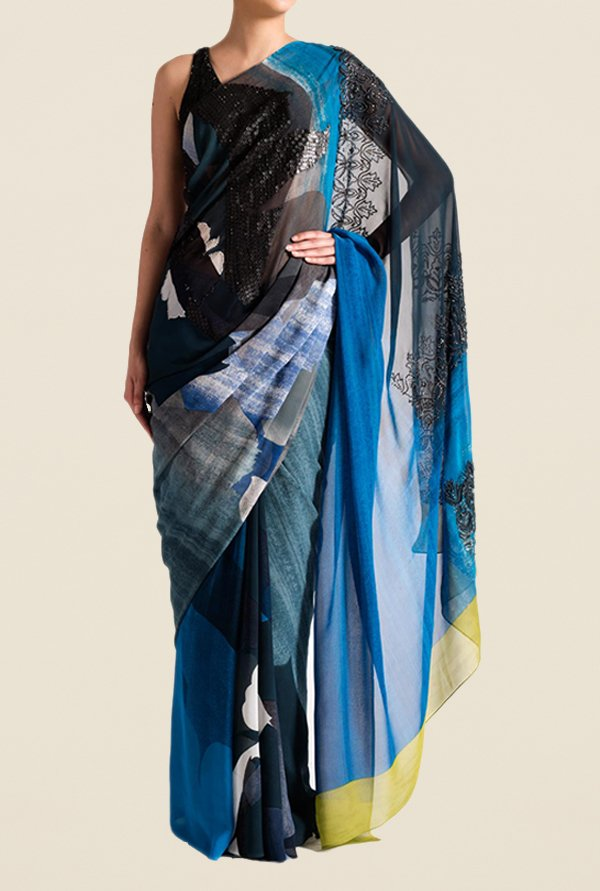 Satya Paul Blue & Black Georgette Saree