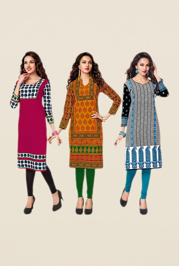 Salwar Studio Pink,Brown,Blue Unstitched Kurta(Pk Of 3)