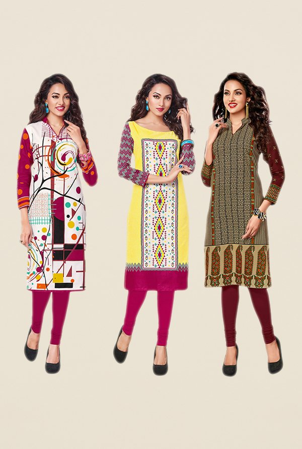 Salwar Studio Pink,Yellow,Brown Unstitched Kurta (Pk Of 3)