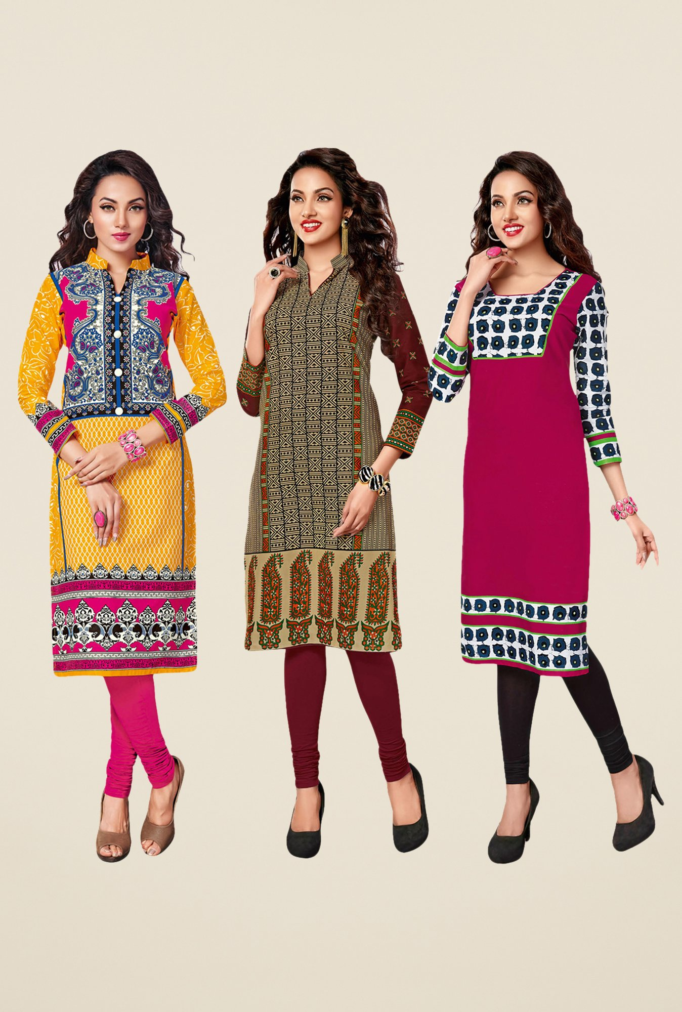 Salwar Studio Yellow,Beige,Pink Unstitched Kurta (Pk Of 3)