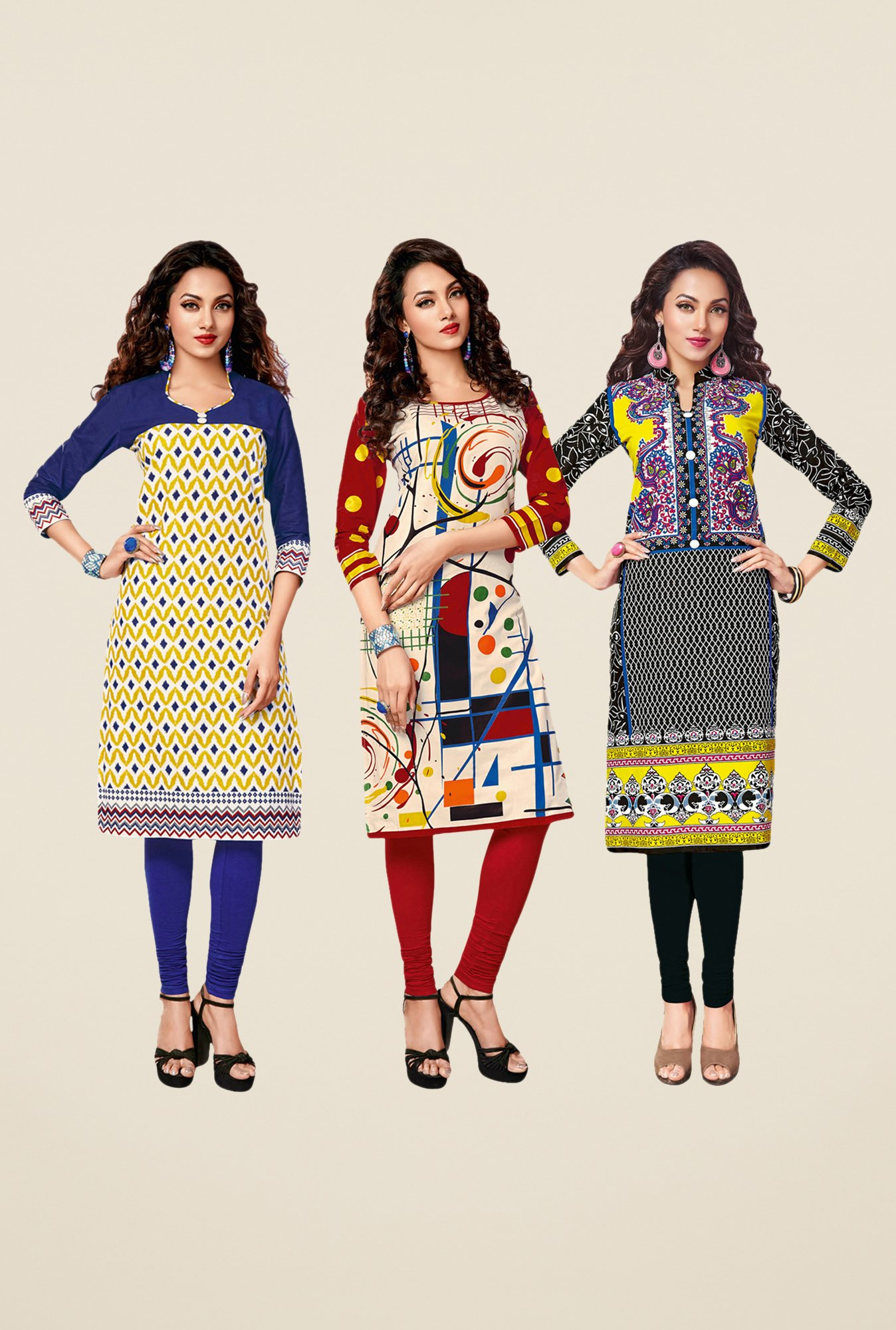 Salwar Studio Yellow,Red,Black Unstitched Kurta (Pk Of 3)