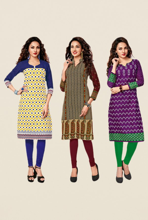 Salwar Studio Yellow,Beige,Purple Unstitched Kurta (Pk Of 3)