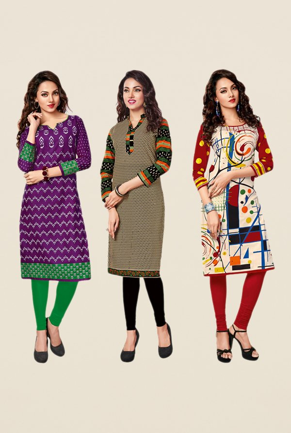 Salwar Studio Purple,Beige,Red Unstitched Kurta (Pk Of 3)