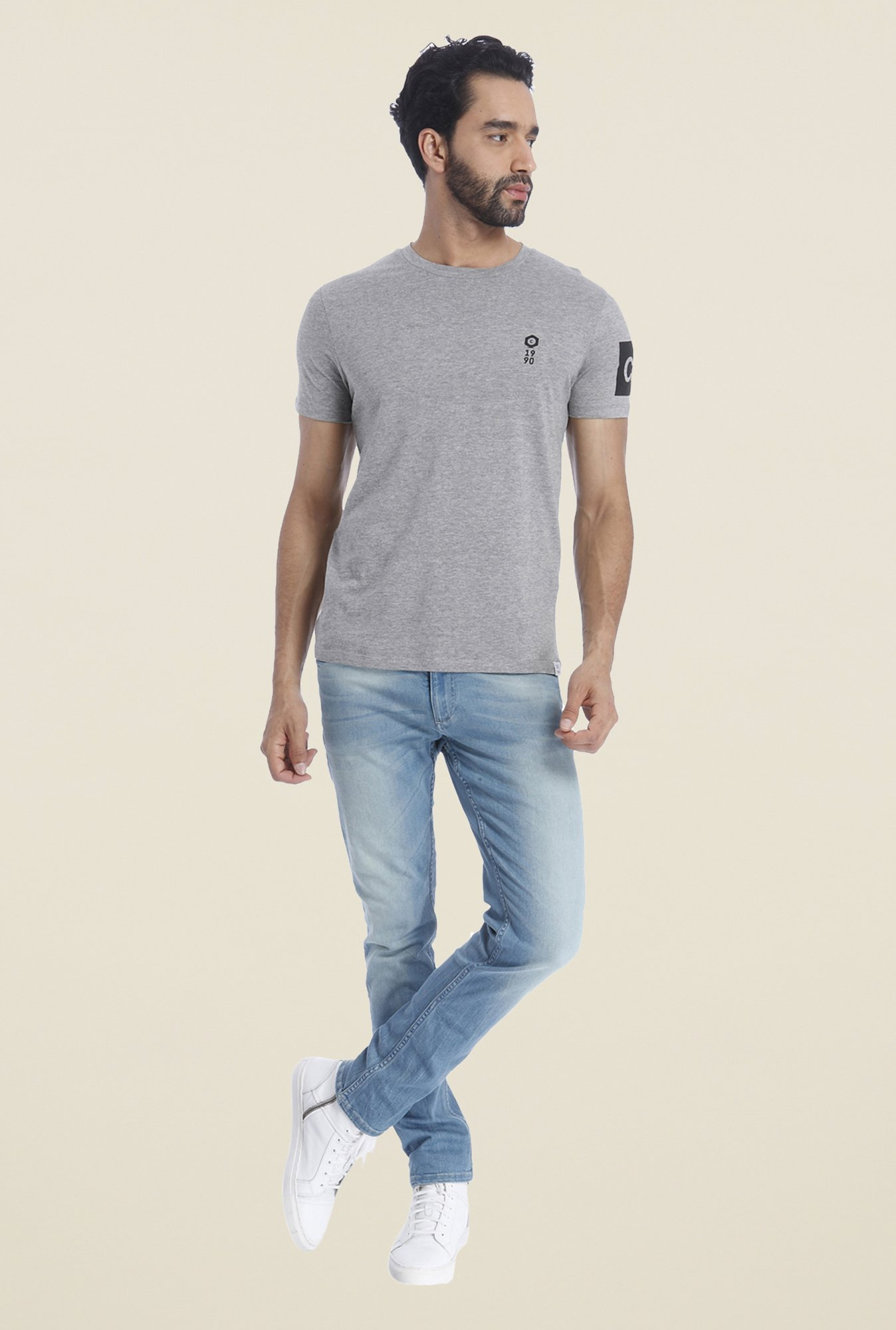 Jack & Jones Grey Solid Crew T Shirt