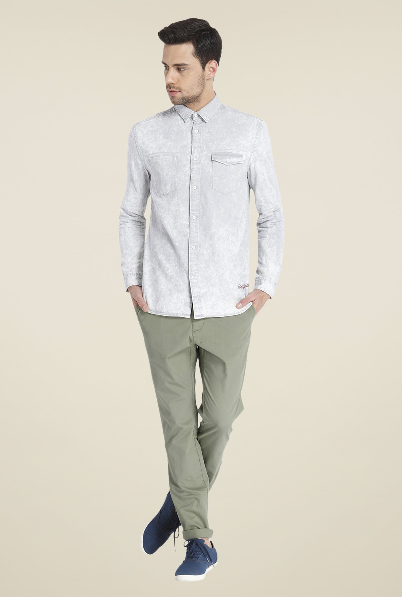 Jack & Jones Grey Acid Washed Shirt