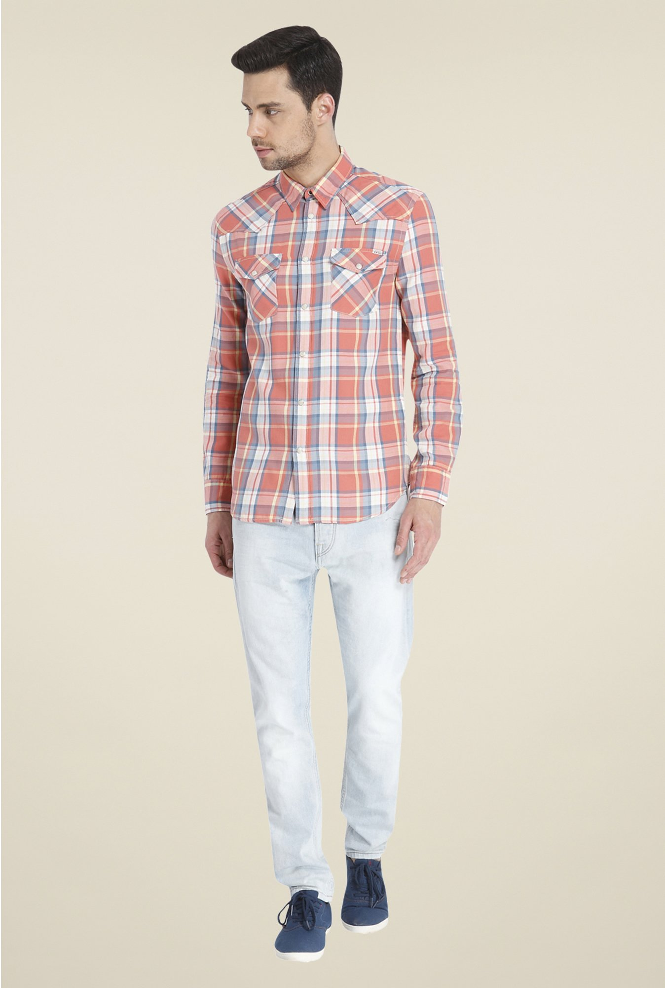 Jack & Jones Orange Checks Shirt