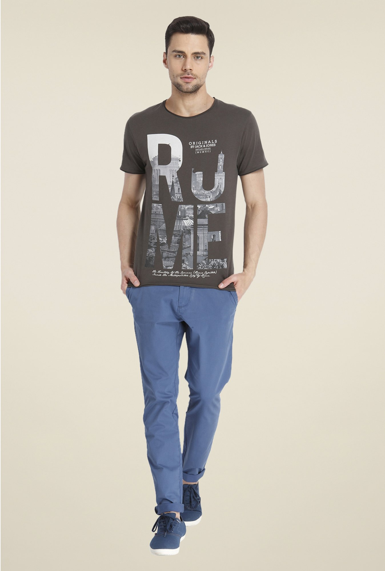 Jack & Jones Brown Graphic Print T Shirt