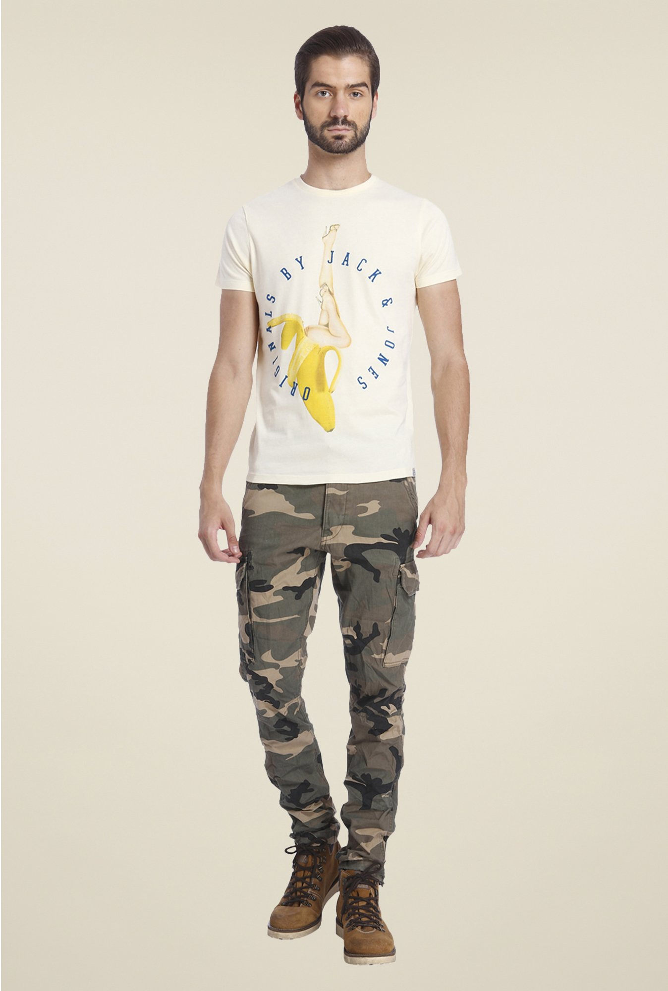 Jack & Jones Beige Graphic Print T Shirt