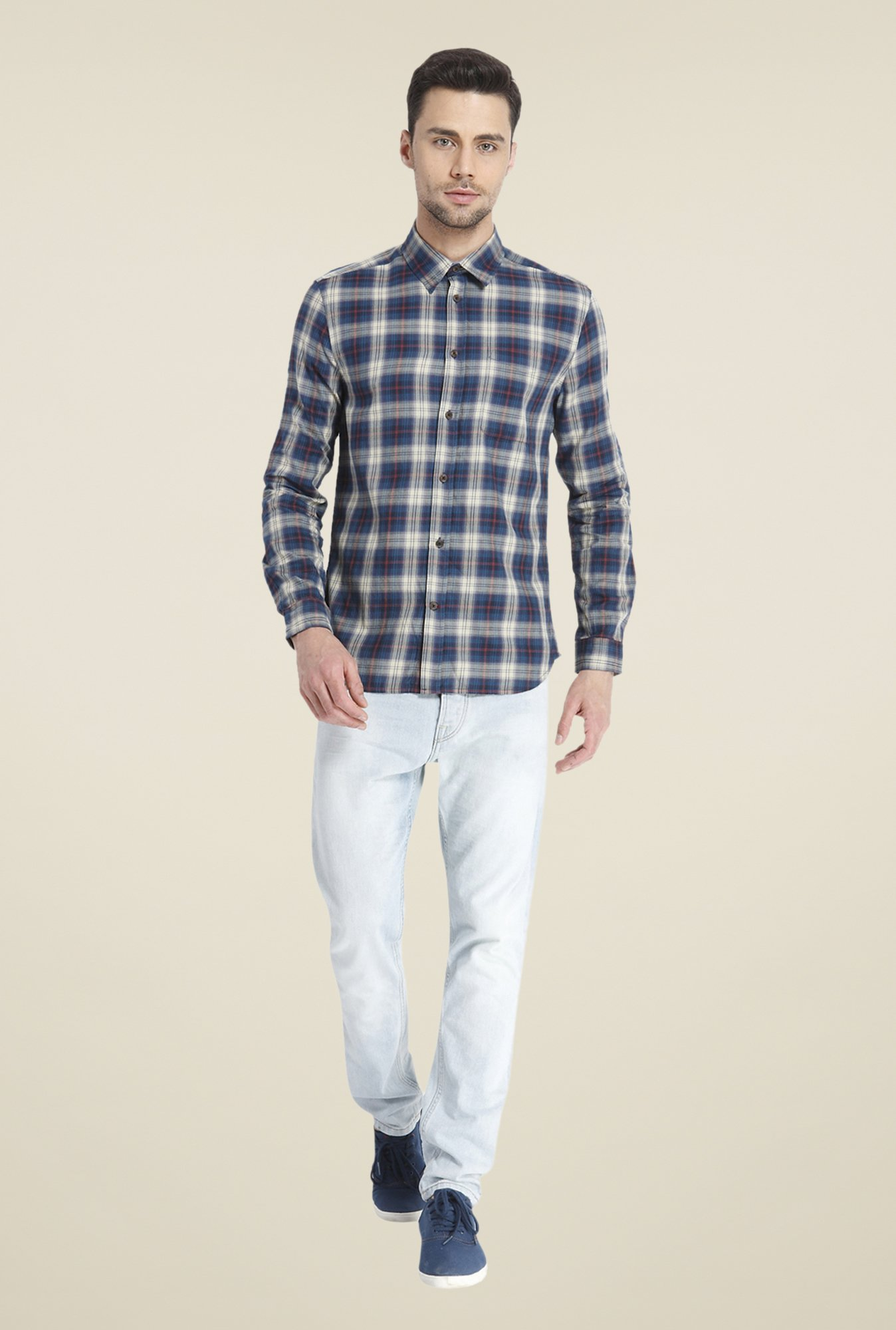 Jack & Jones Navy Checks Shirt
