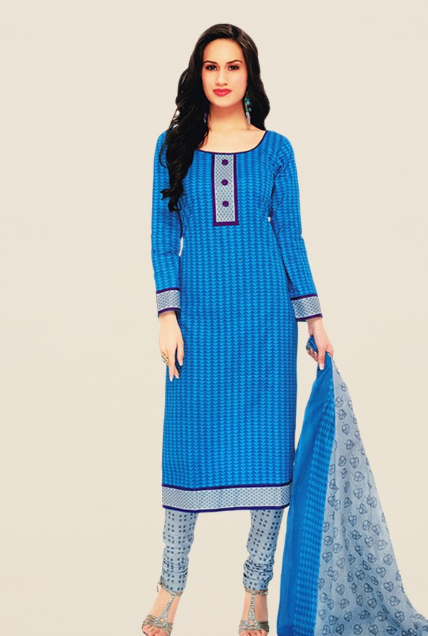 Salwar Studio Blue & Grey Geometric Print Dress Material