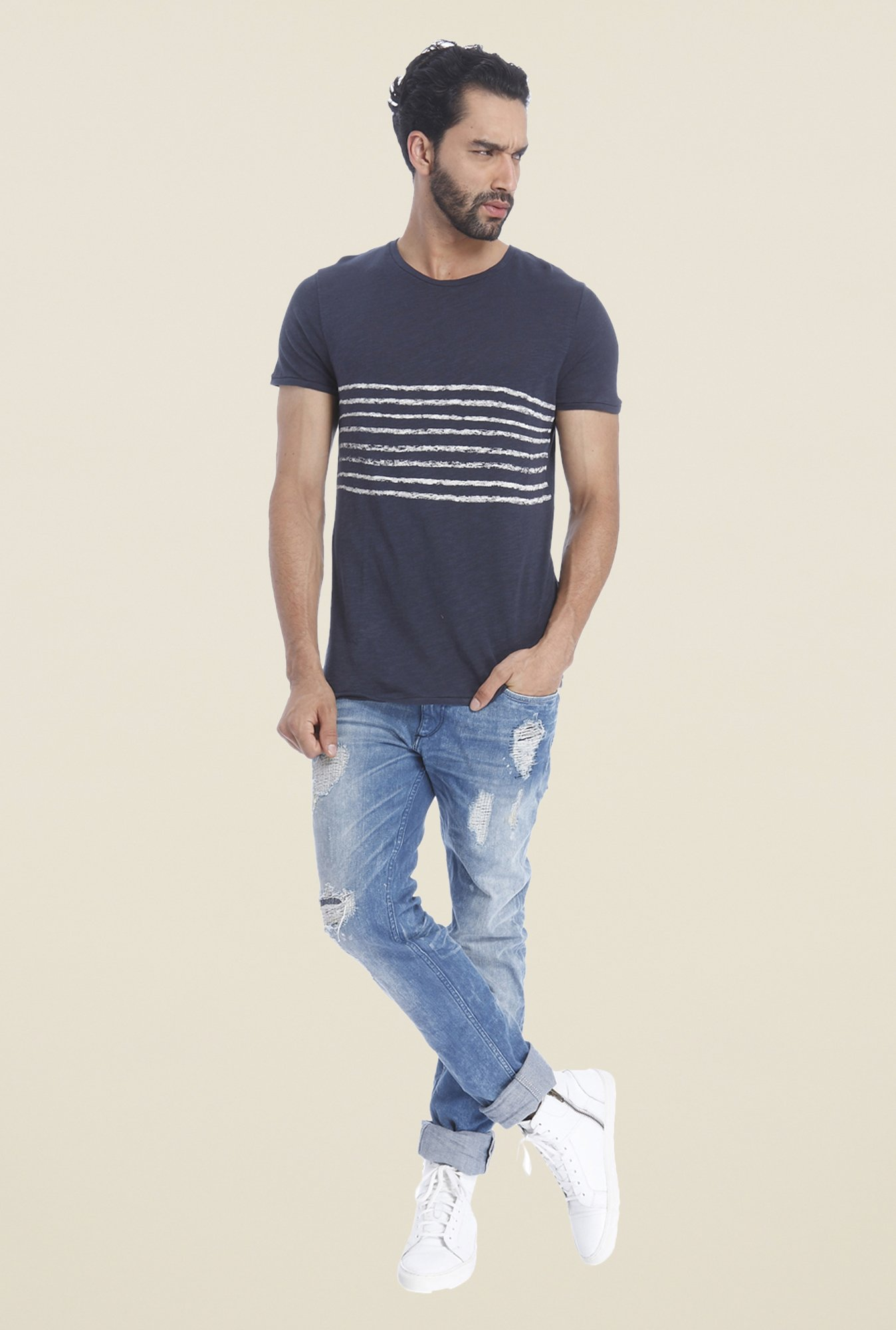 Jack & Jones Navy Textured T Shirt