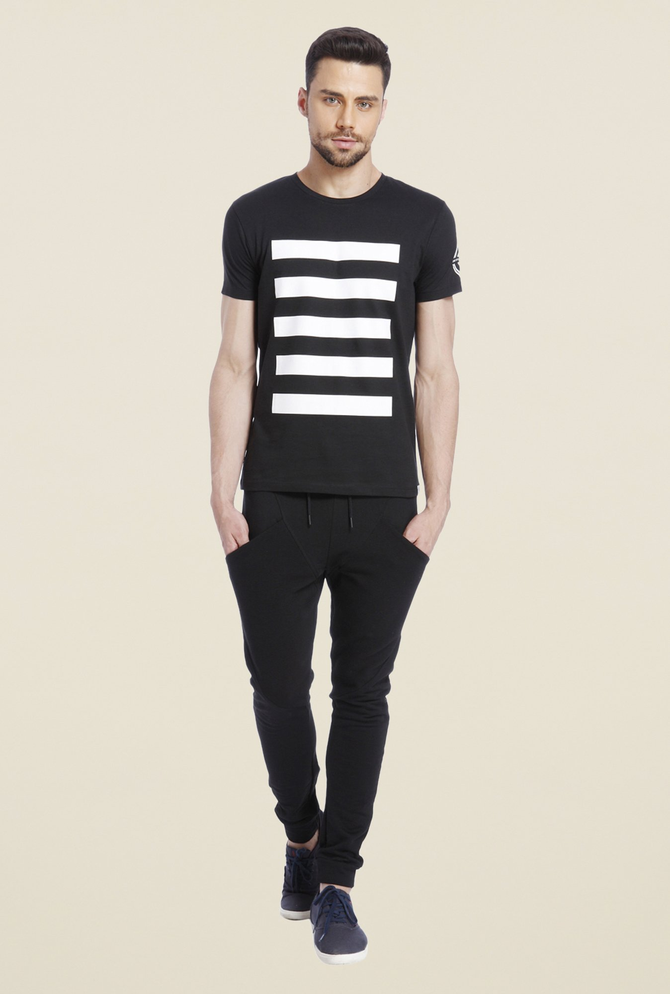 Jack & Jones Black Graphic Print Crew Neck T Shirt