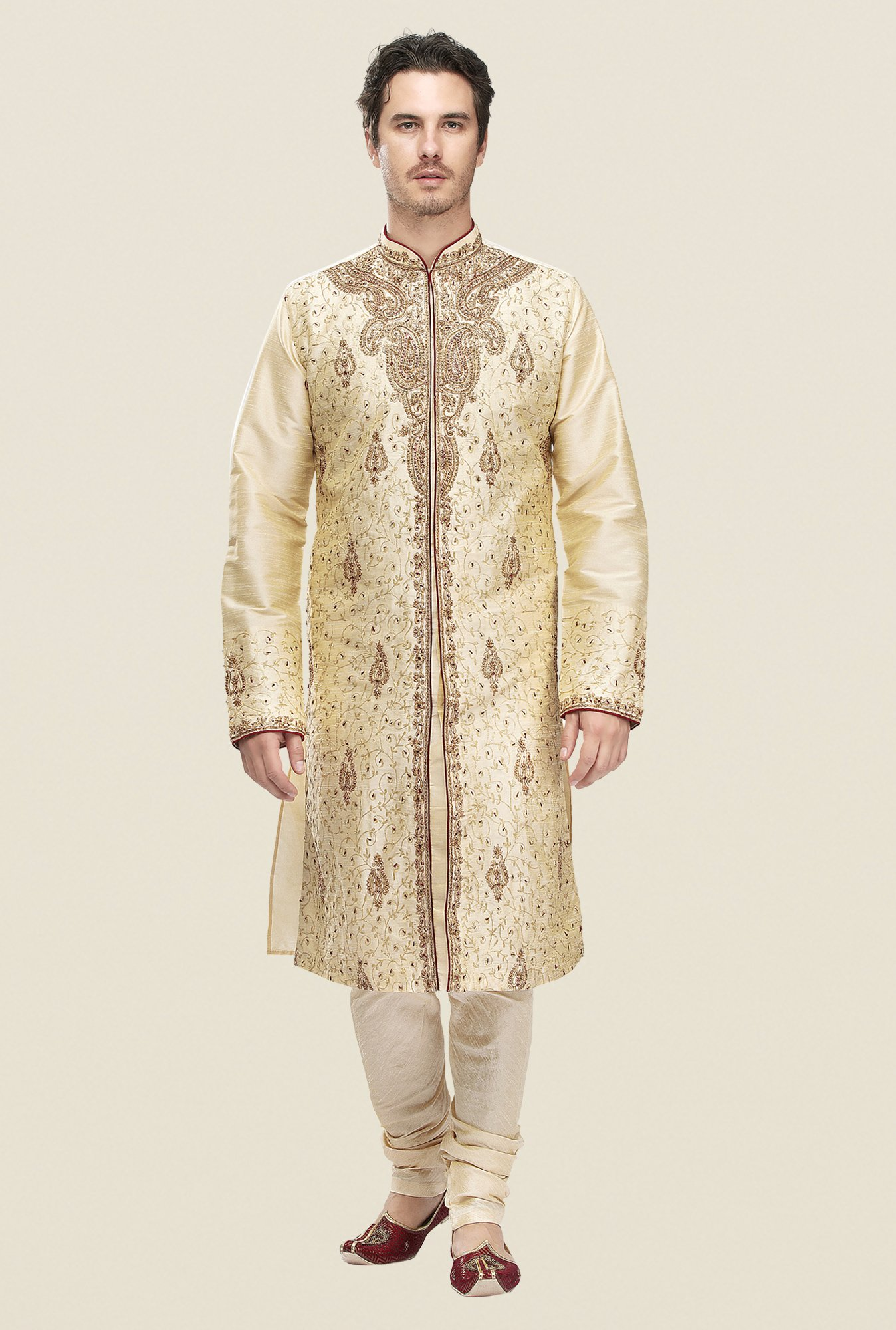 Manyavar Beige Embroidered Kurta & Chudidar Set