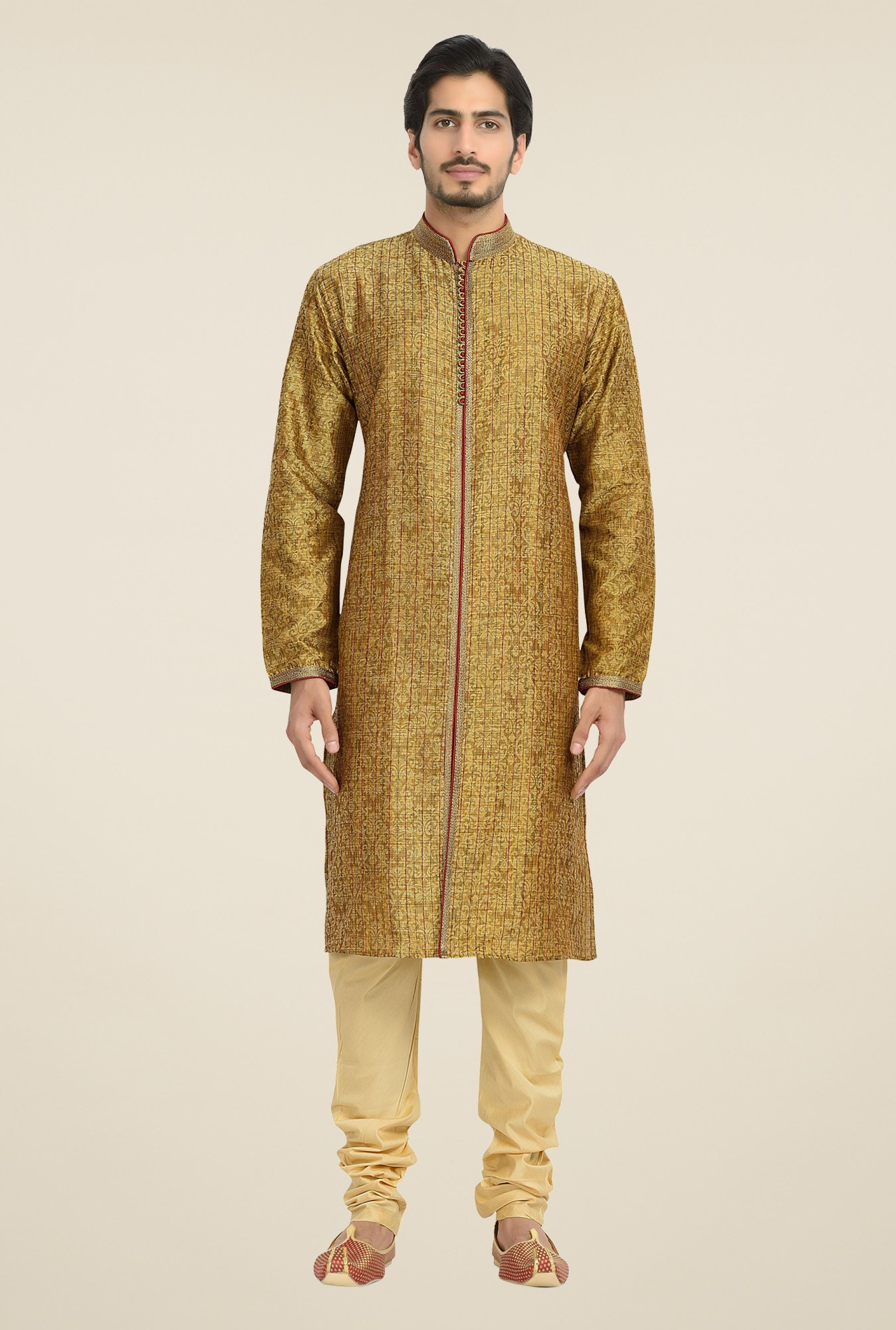 Manyavar Brown Self Print Kurta & Chudidar Set