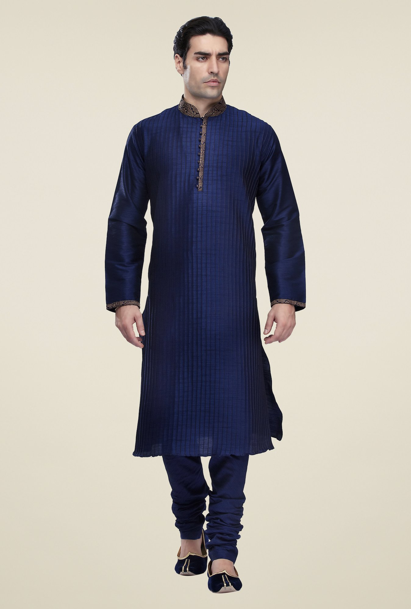 Manyavar Navy Striped Kurta & Chudidar Set