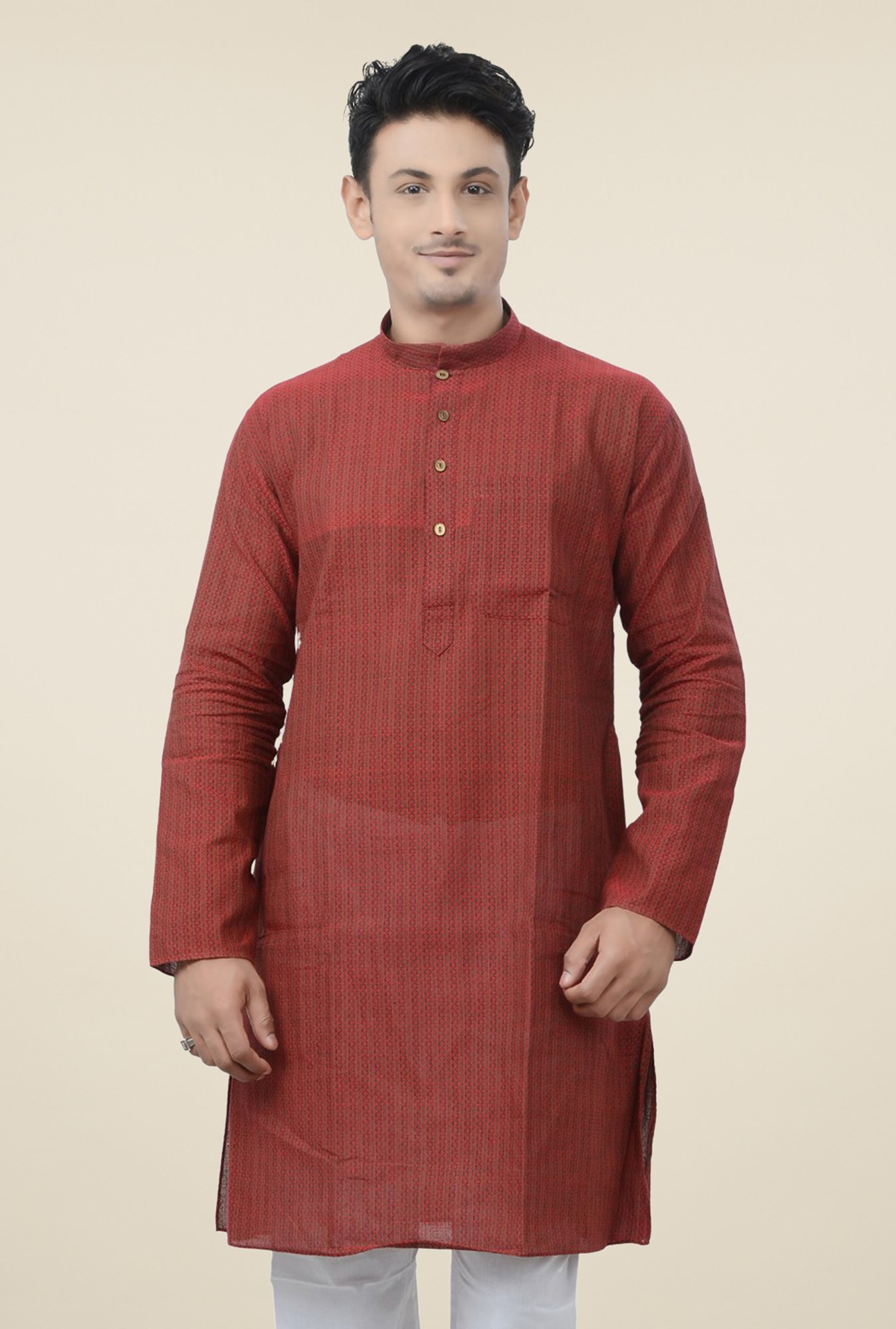 Manyavar Brown Printed Kurta