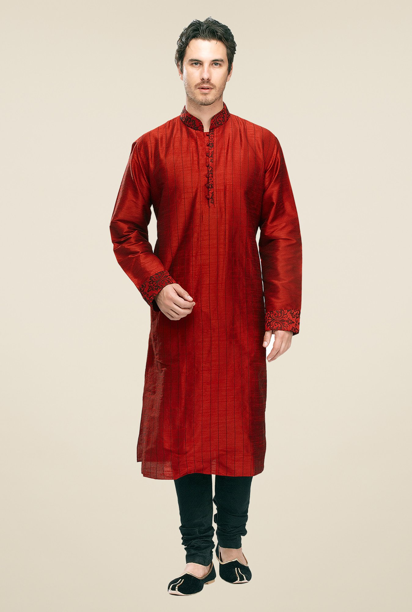 Manyavar Rust Striped Kurta & Chudidar Set