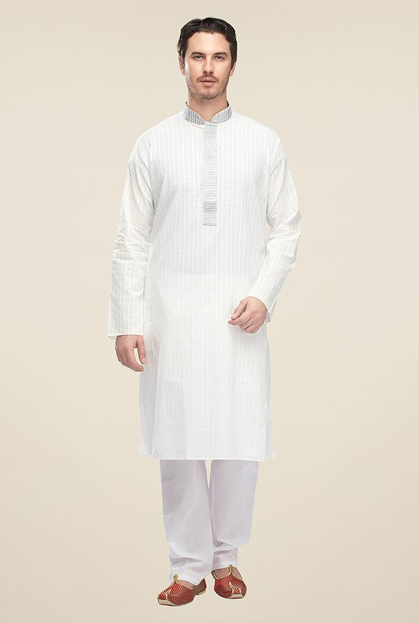 Manyavar White Checks Kurta & Pyjama Set